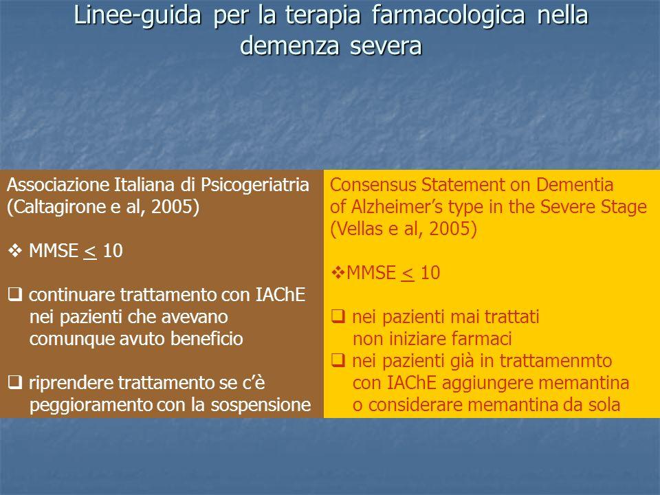 Linee-guida per la terapia farmacologica nella demenza severa