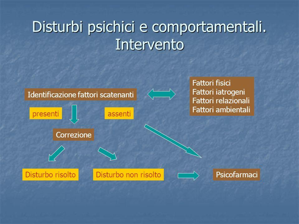 Disturbi psichici e comportamentali. Intervento