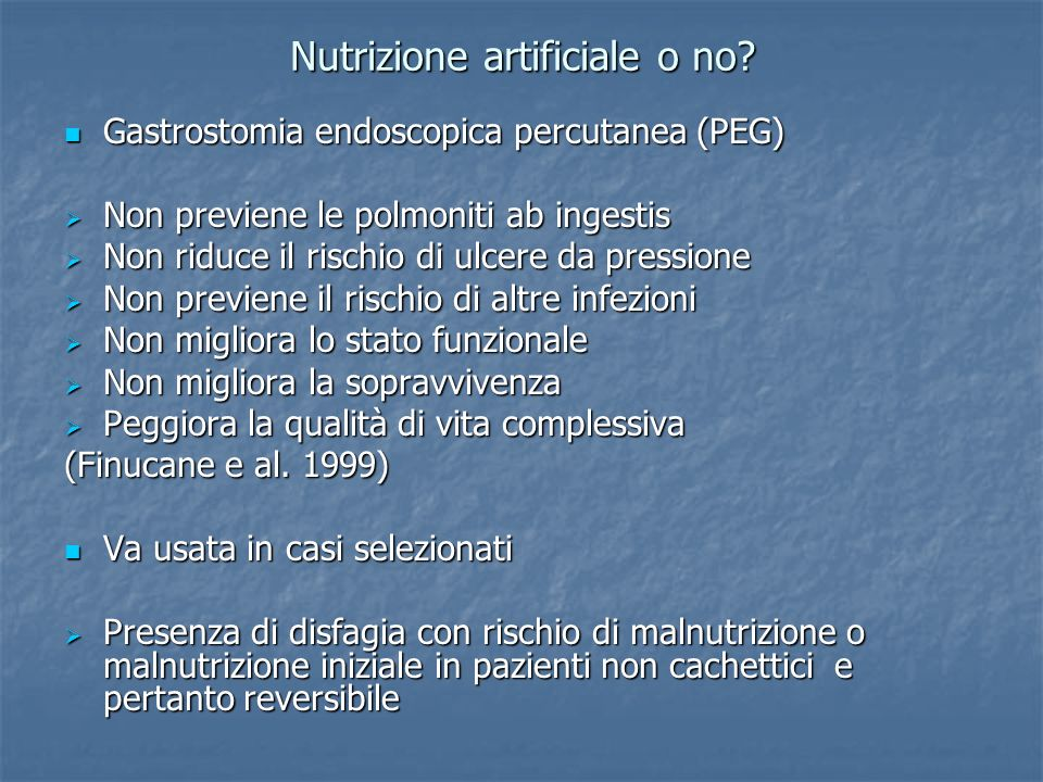 Nutrizione artificiale o no