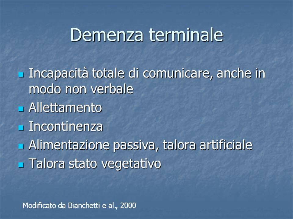 Demenza terminale Incapacità totale di comunicare, anche in modo non verbale. Allettamento. Incontinenza.