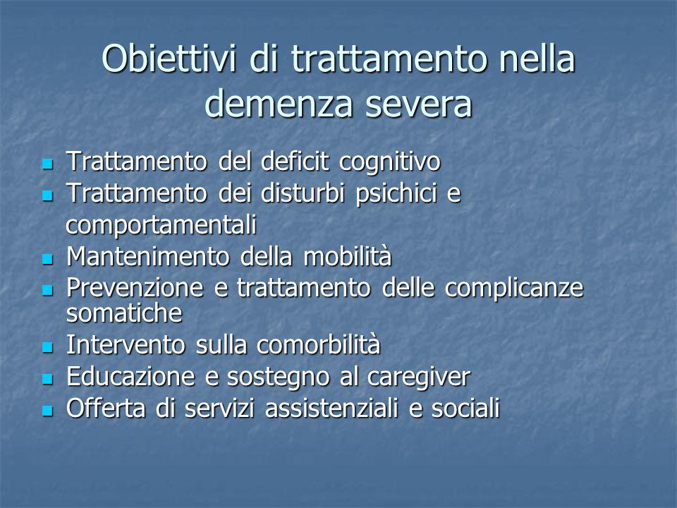 Obiettivi di trattamento nella demenza severa