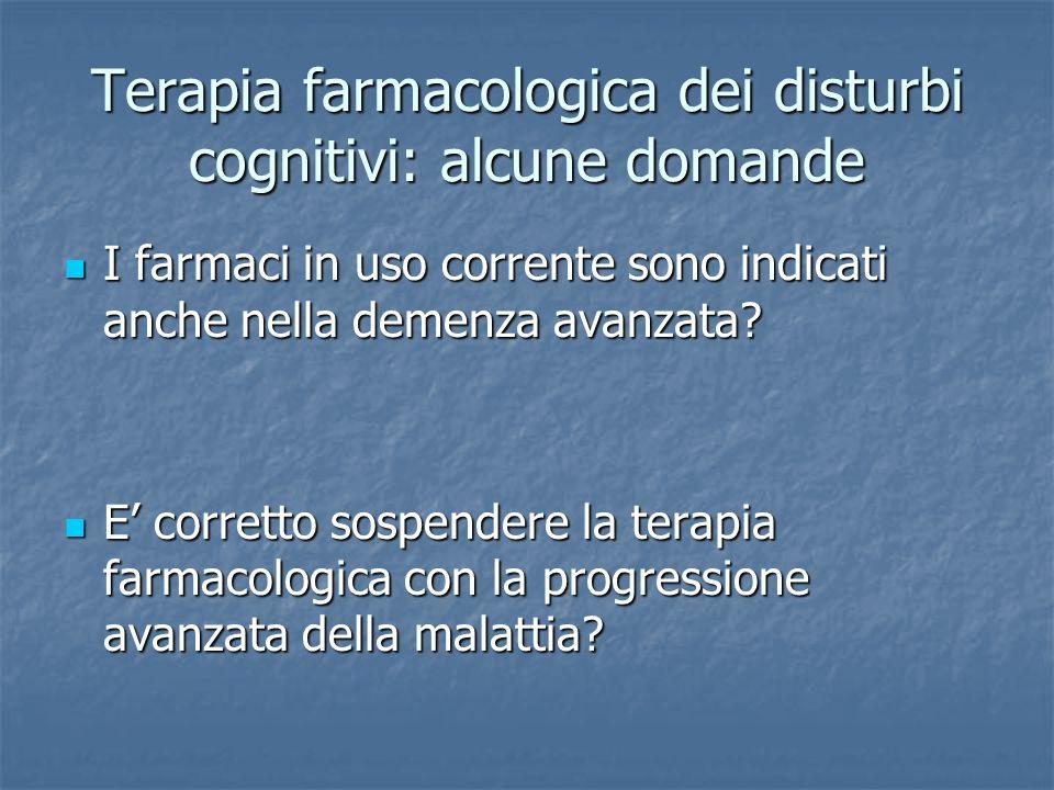 Terapia farmacologica dei disturbi cognitivi: alcune domande