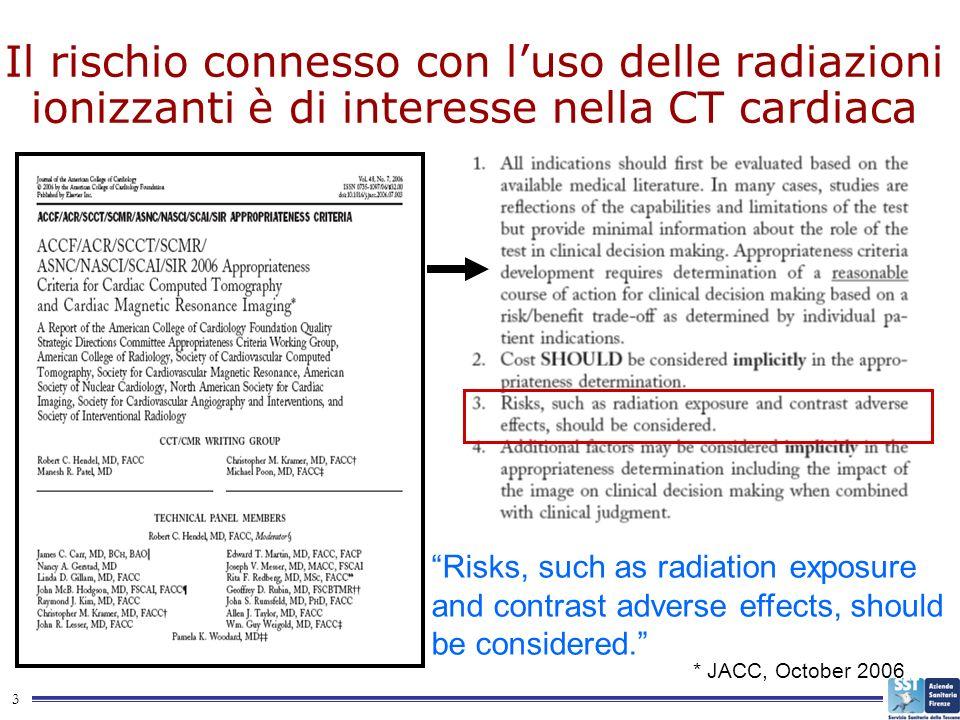 Il rischio connesso con l'uso delle radiazioni ionizzanti è di interesse nella CT cardiaca