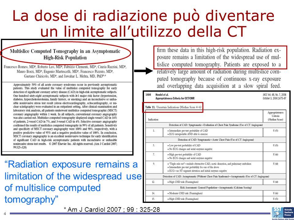 La dose di radiazione può diventare un limite all'utilizzo della CT