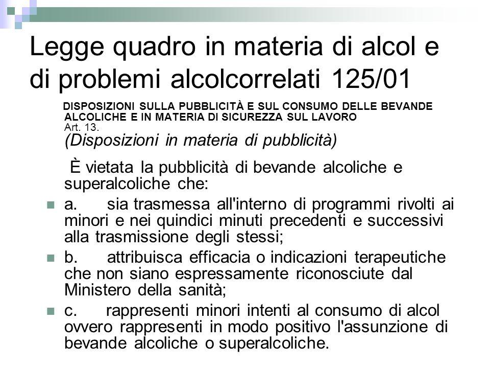 Legge quadro in materia di alcol e di problemi alcolcorrelati 125/01