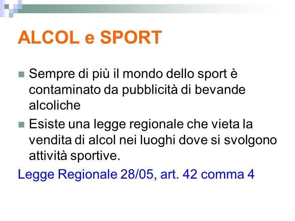 ALCOL e SPORT Sempre di più il mondo dello sport è contaminato da pubblicità di bevande alcoliche.