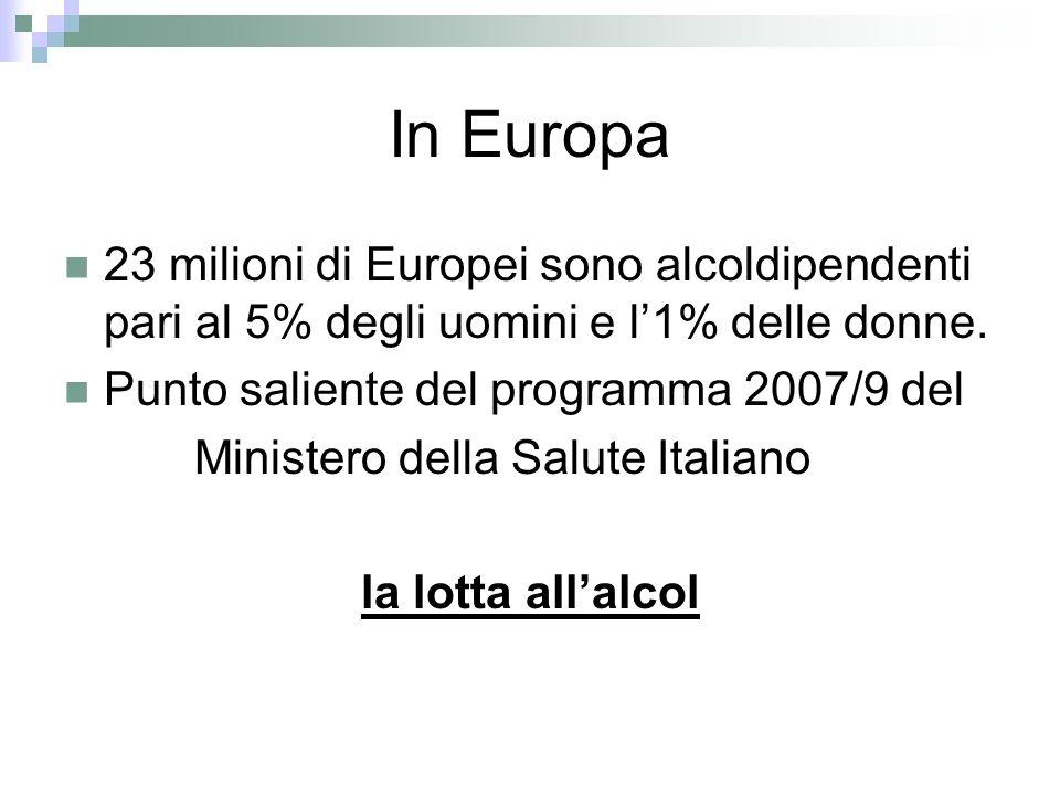 In Europa 23 milioni di Europei sono alcoldipendenti pari al 5% degli uomini e l'1% delle donne. Punto saliente del programma 2007/9 del.