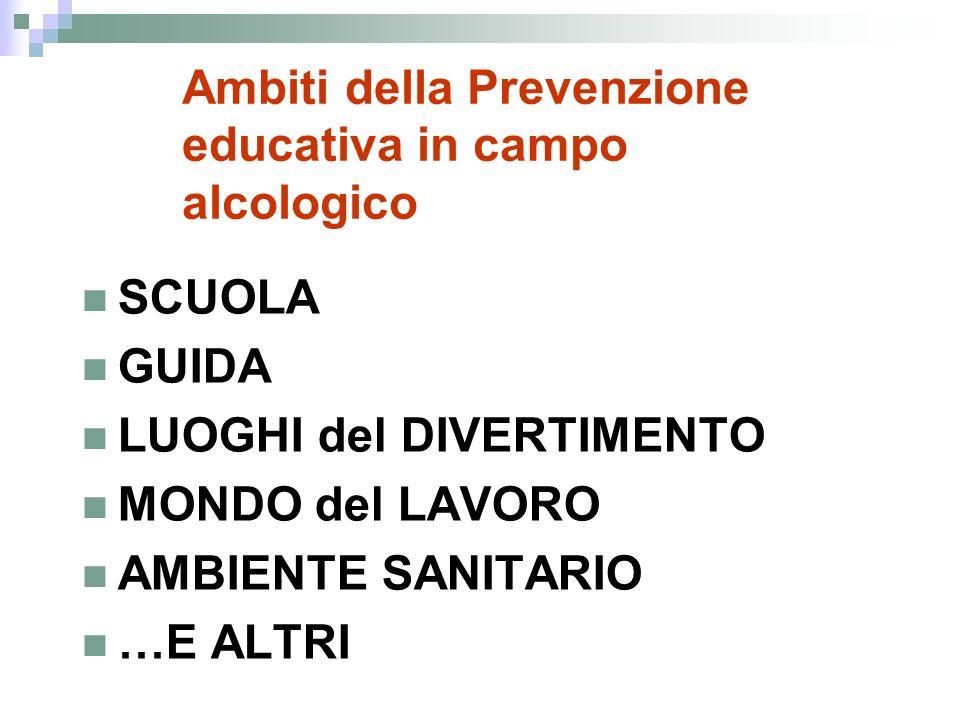 Ambiti della Prevenzione educativa in campo alcologico