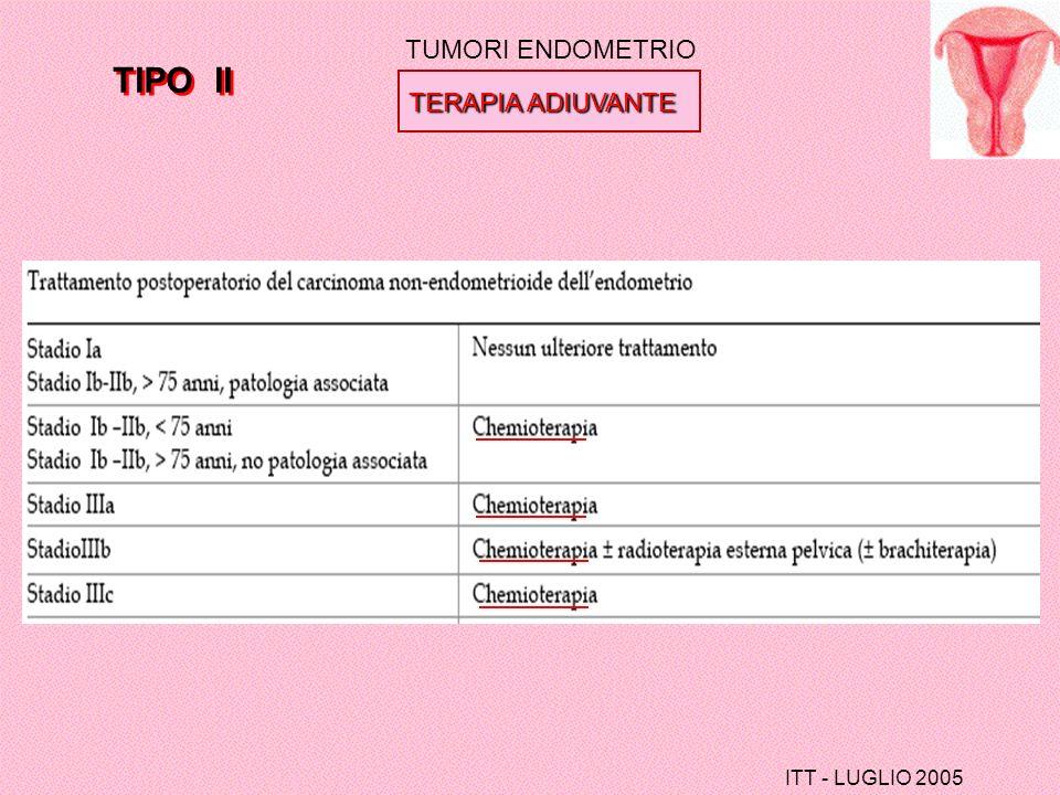 TUMORI ENDOMETRIO TIPO II TERAPIA ADIUVANTE ITT - LUGLIO 2005