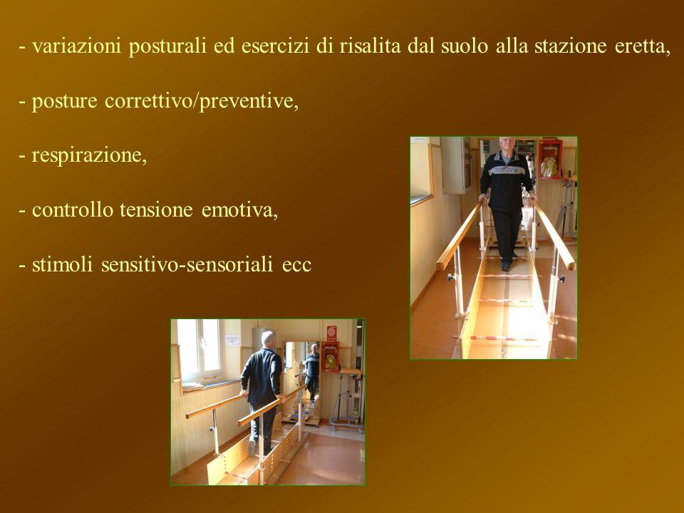variazioni posturali ed esercizi di risalita dal suolo alla stazione eretta,