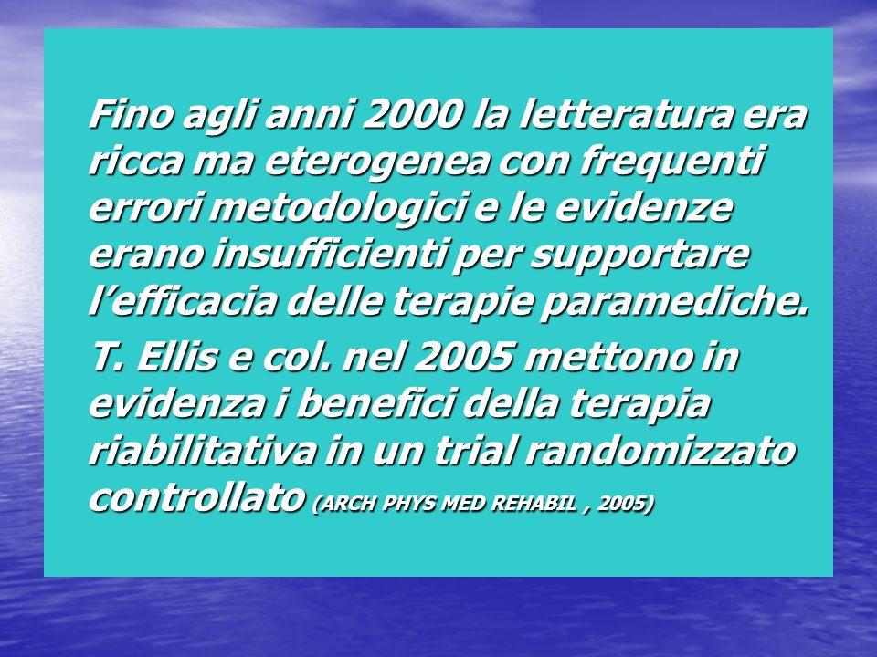 Fino agli anni 2000 la letteratura era ricca ma eterogenea con frequenti errori metodologici e le evidenze erano insufficienti per supportare l'efficacia delle terapie paramediche.