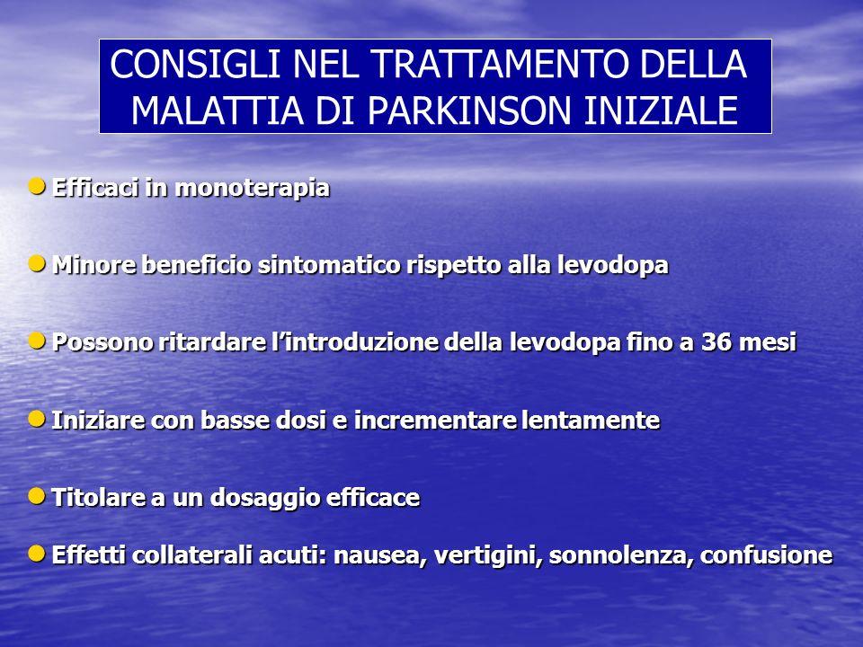 CONSIGLI NEL TRATTAMENTO DELLA MALATTIA DI PARKINSON INIZIALE