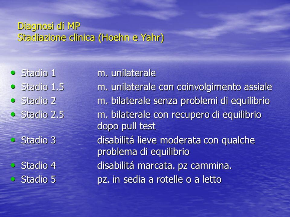 Diagnosi di MP Stadiazione clinica (Hoehn e Yahr)