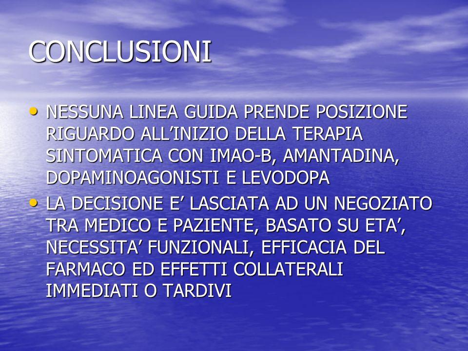 CONCLUSIONINESSUNA LINEA GUIDA PRENDE POSIZIONE RIGUARDO ALL'INIZIO DELLA TERAPIA SINTOMATICA CON IMAO-B, AMANTADINA, DOPAMINOAGONISTI E LEVODOPA.