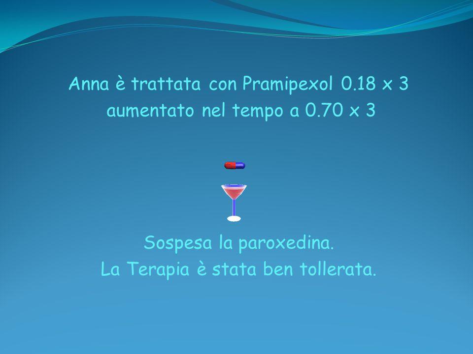 Anna è trattata con Pramipexol 0. 18 x 3 aumentato nel tempo a 0