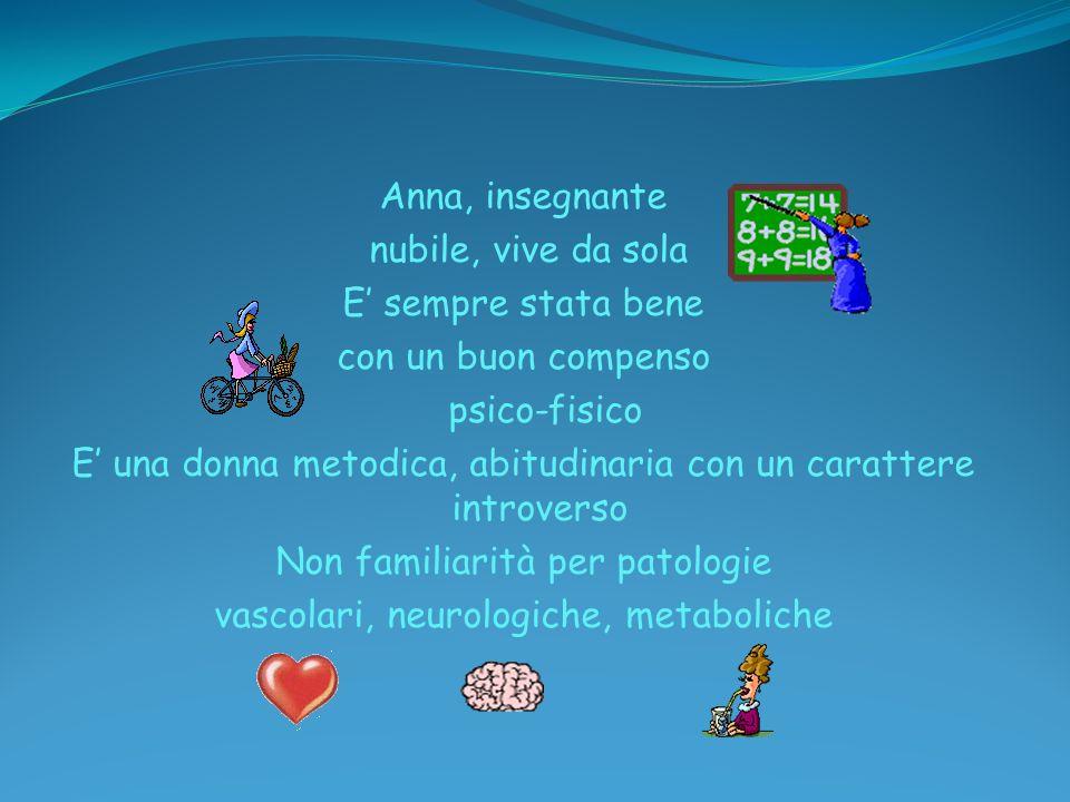 Anna, insegnante nubile, vive da sola E' sempre stata bene con un buon compenso psico-fisico E' una donna metodica, abitudinaria con un carattere introverso Non familiarità per patologie vascolari, neurologiche, metaboliche