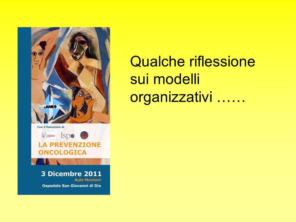 Qualche riflessione sui modelli organizzativi ……
