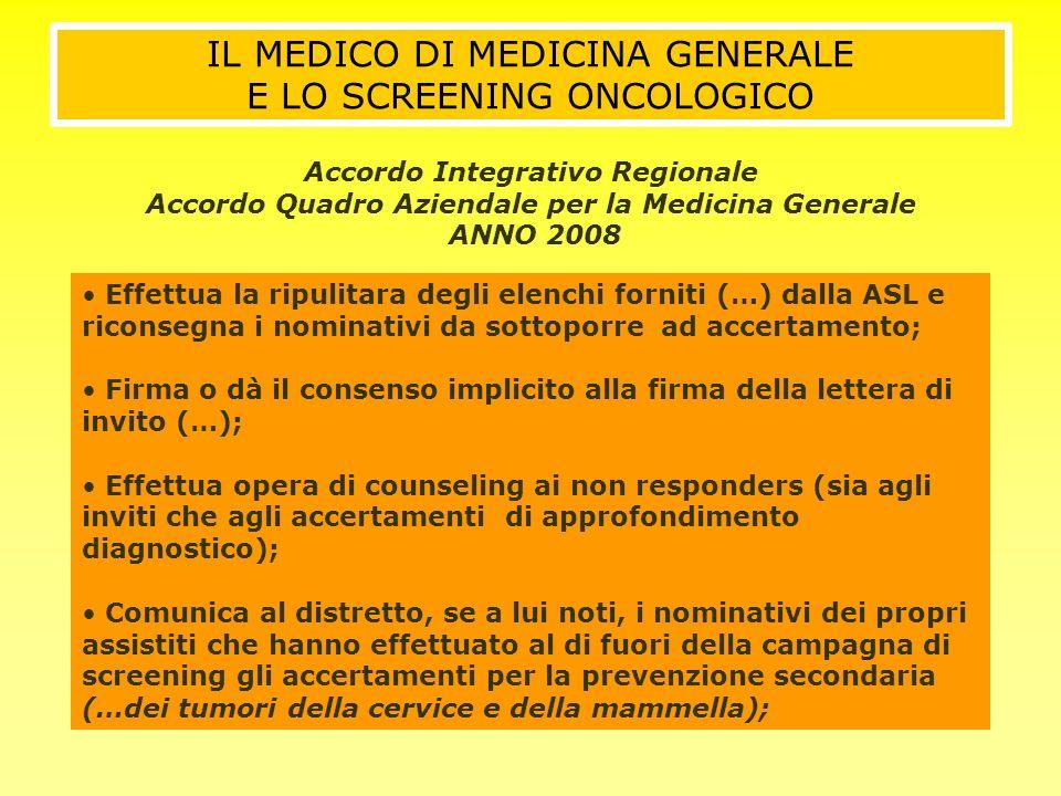 IL MEDICO DI MEDICINA GENERALE E LO SCREENING ONCOLOGICO