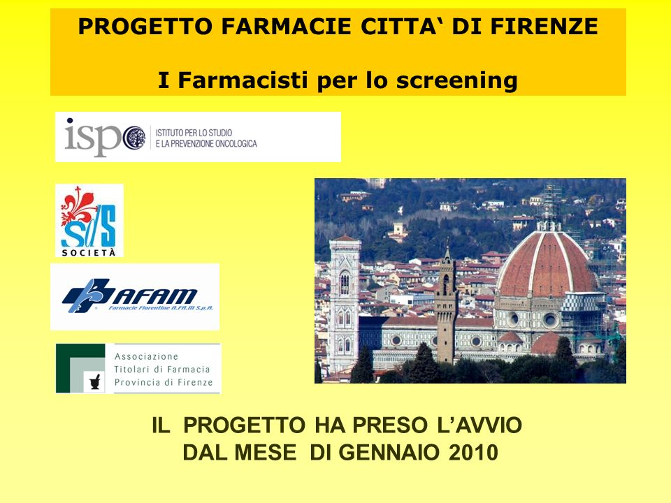 PROGETTO FARMACIE CITTA' DI FIRENZE I Farmacisti per lo screening