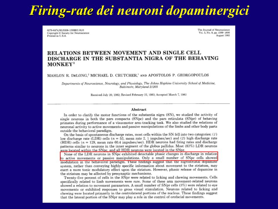 Firing-rate dei neuroni dopaminergici