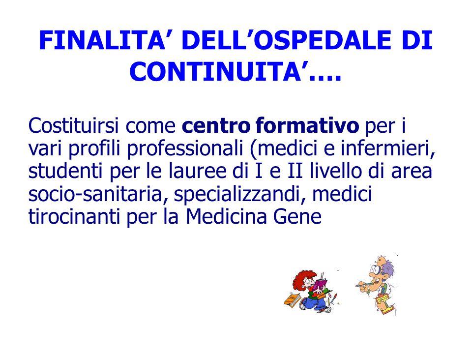 FINALITA' DELL'OSPEDALE DI CONTINUITA'….