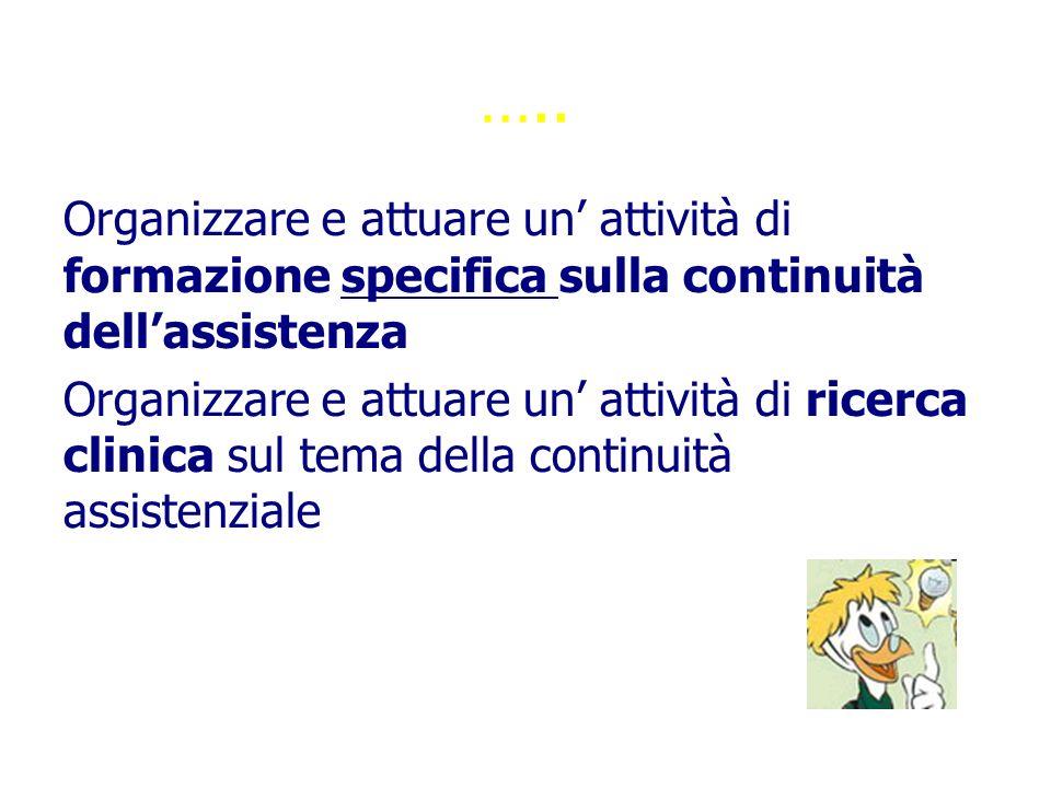 12/06/09 ….. Organizzare e attuare un' attività di formazione specifica sulla continuità dell'assistenza.