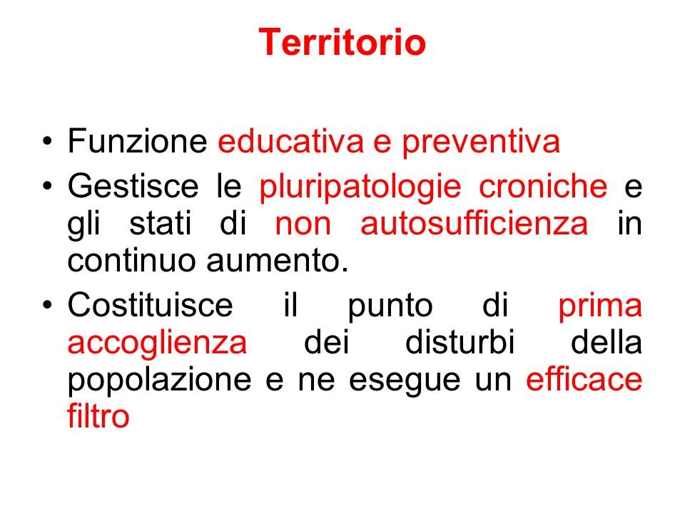Territorio Funzione educativa e preventiva