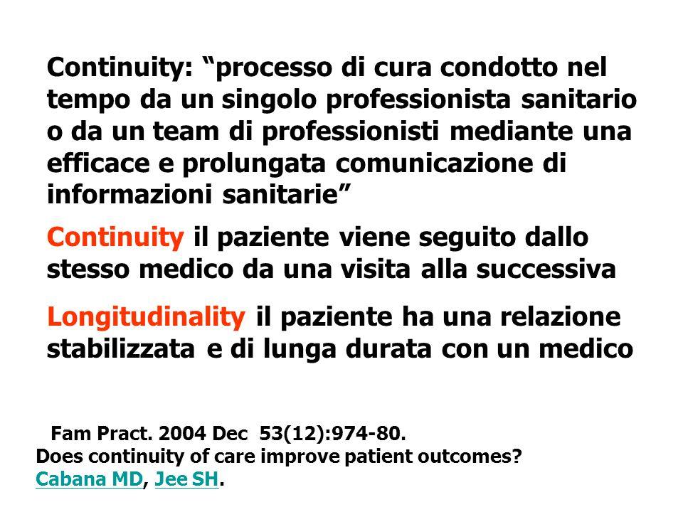 Continuity: processo di cura condotto nel tempo da un singolo professionista sanitario o da un team di professionisti mediante una efficace e prolungata comunicazione di informazioni sanitarie