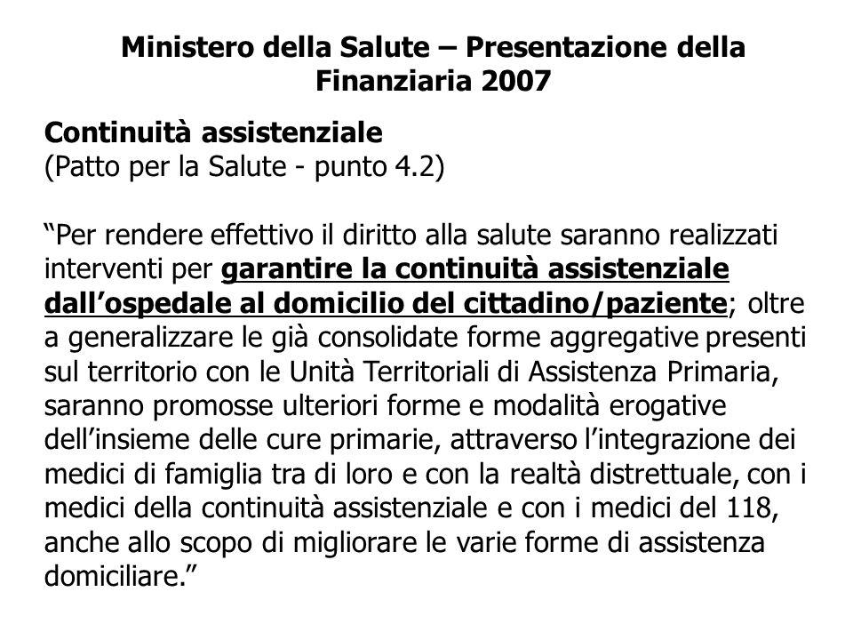 Ministero della Salute – Presentazione della Finanziaria 2007
