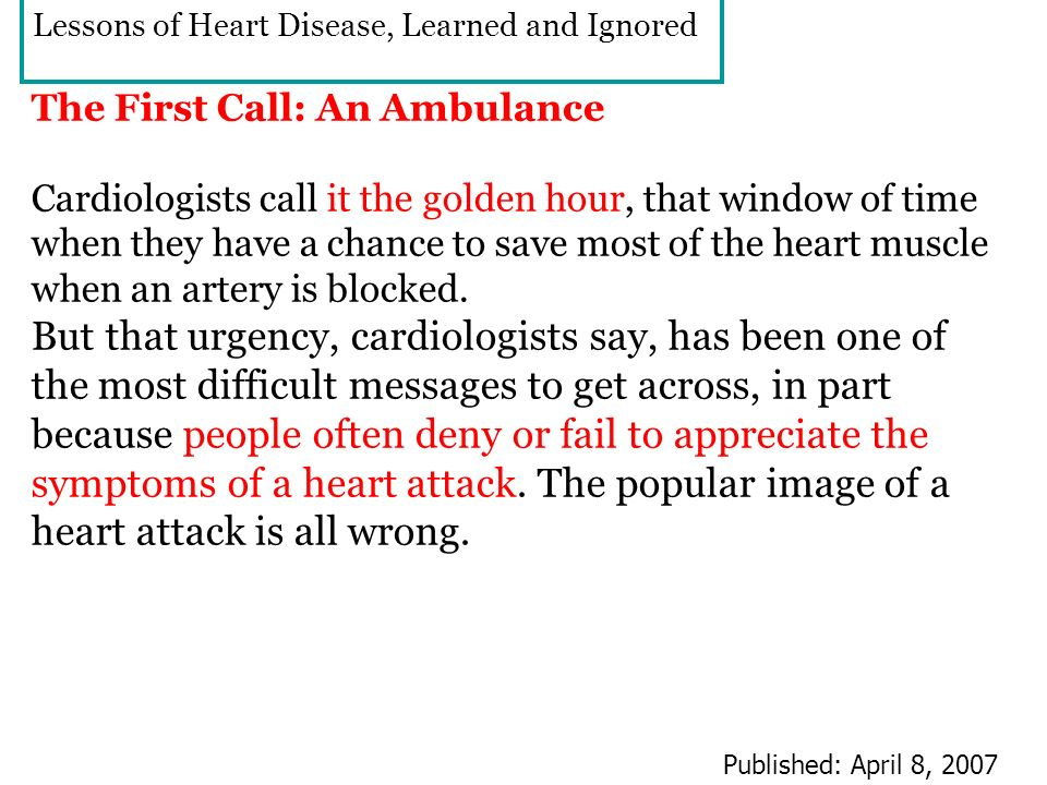 Lessons of Heart Disease, Learned and Ignored