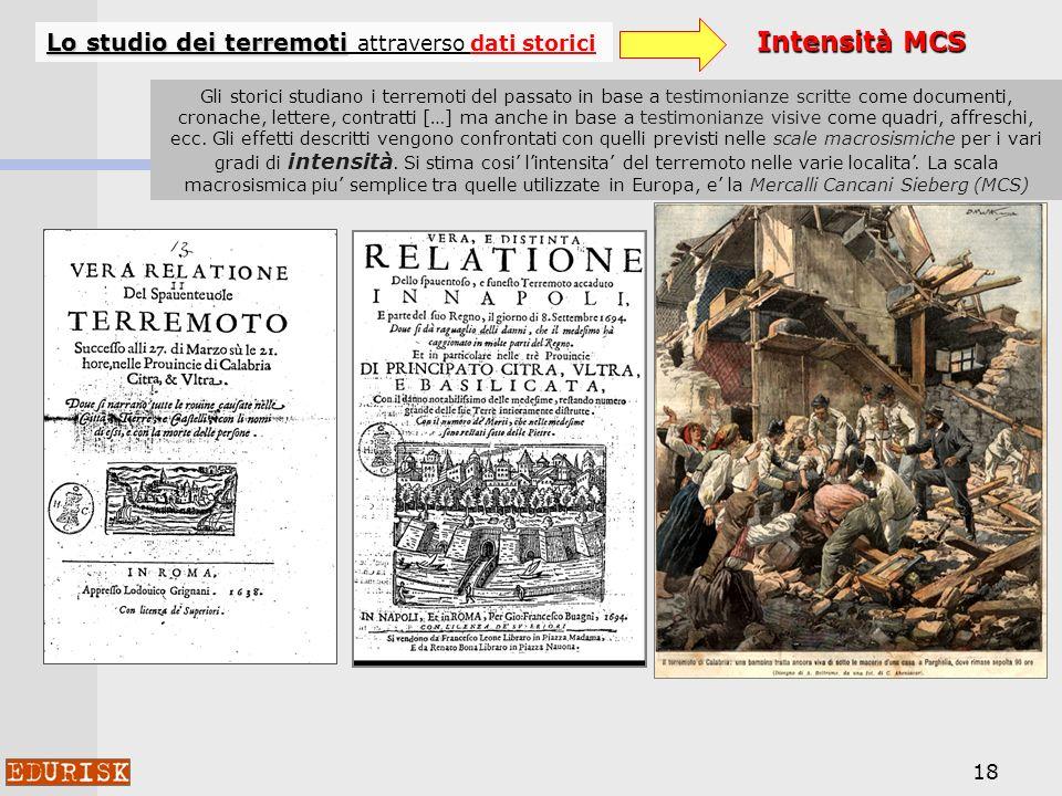 Intensità MCS Lo studio dei terremoti attraverso dati storici