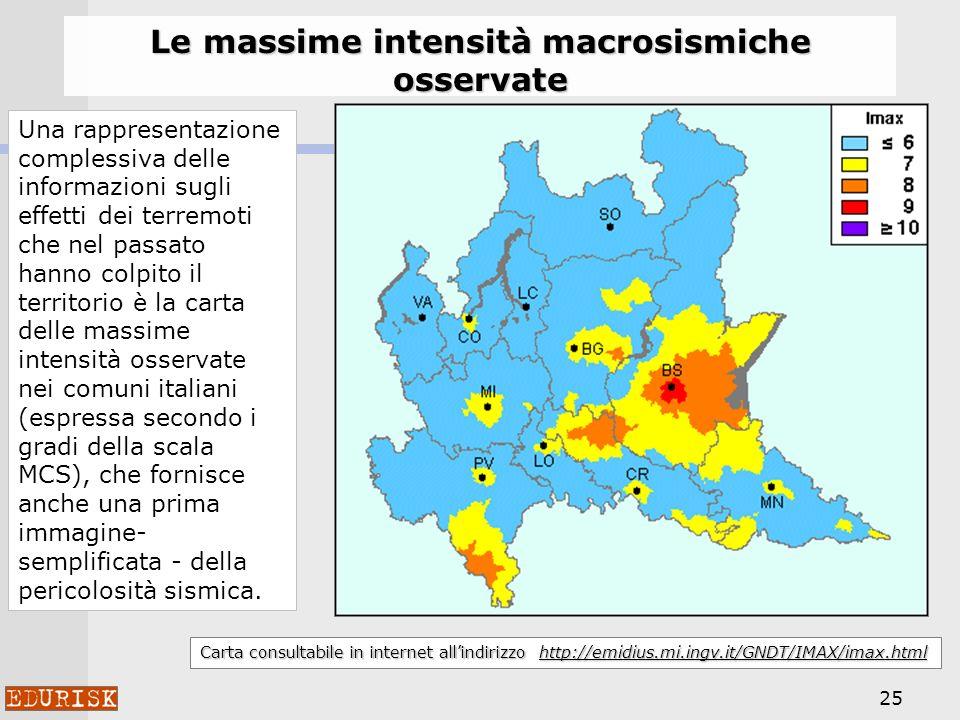 Le massime intensità macrosismiche osservate