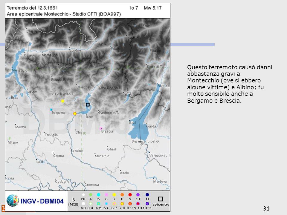 Questo terremoto causò danni abbastanza gravi a Montecchio (ove si ebbero alcune vittime) e Albino; fu molto sensibile anche a Bergamo e Brescia.