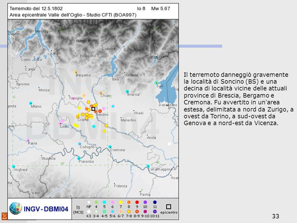 Il terremoto danneggiò gravemente la località di Soncino (BS) e una decina di località vicine delle attuali province di Brescia, Bergamo e Cremona.