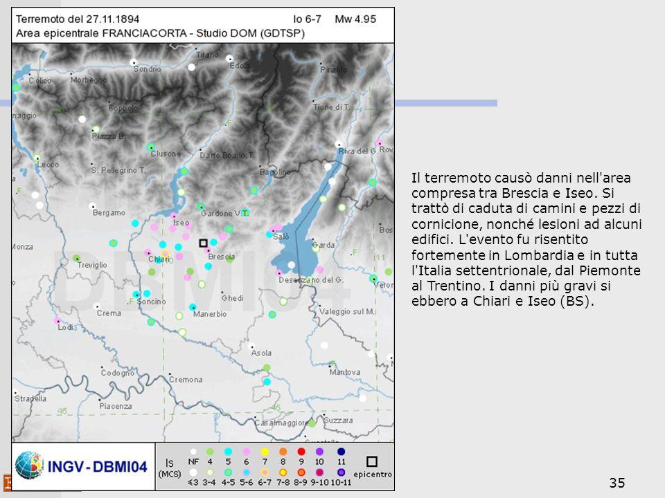 Il terremoto causò danni nell area compresa tra Brescia e Iseo