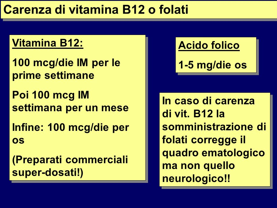 Carenza di vitamina B12 o folati