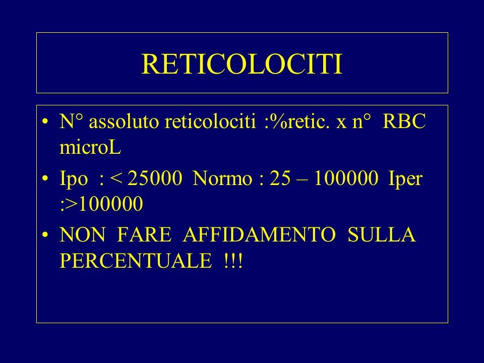 RETICOLOCITI N° assoluto reticolociti :%retic. x n° RBC microL
