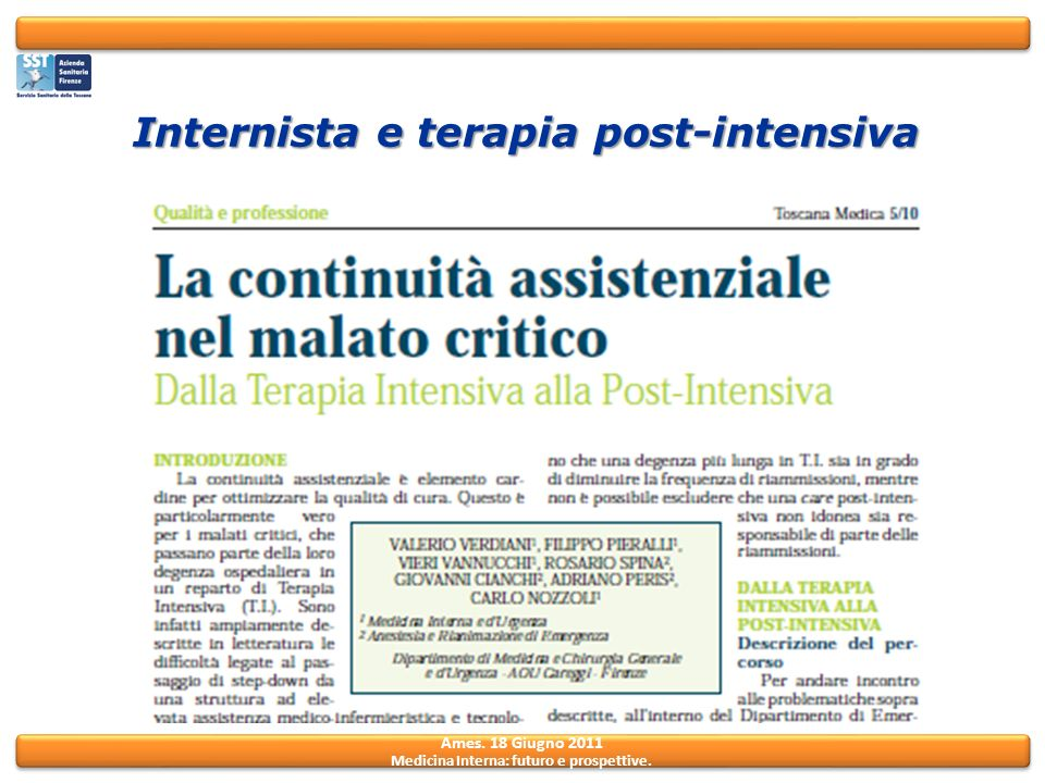 Internista e terapia post-intensiva