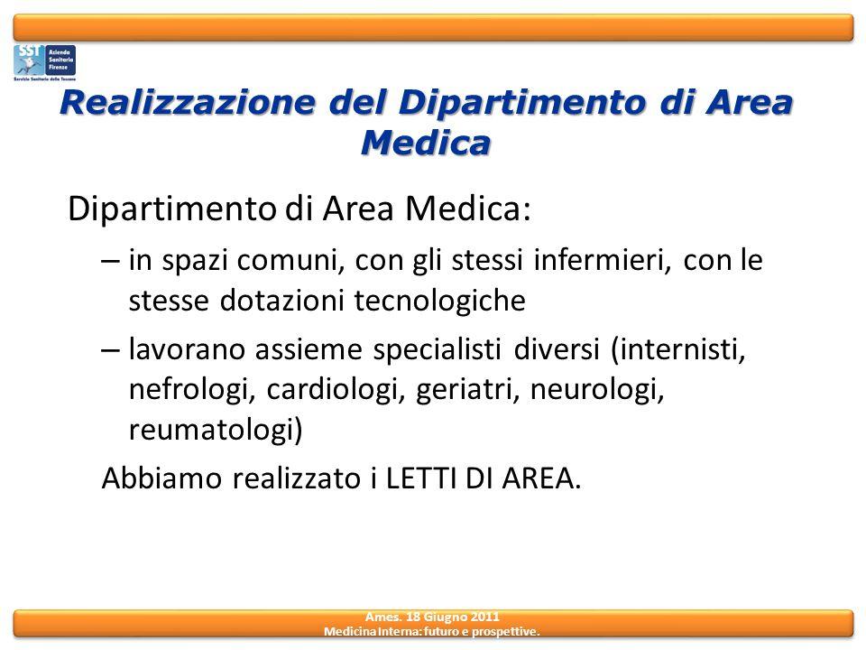 Realizzazione del Dipartimento di Area Medica