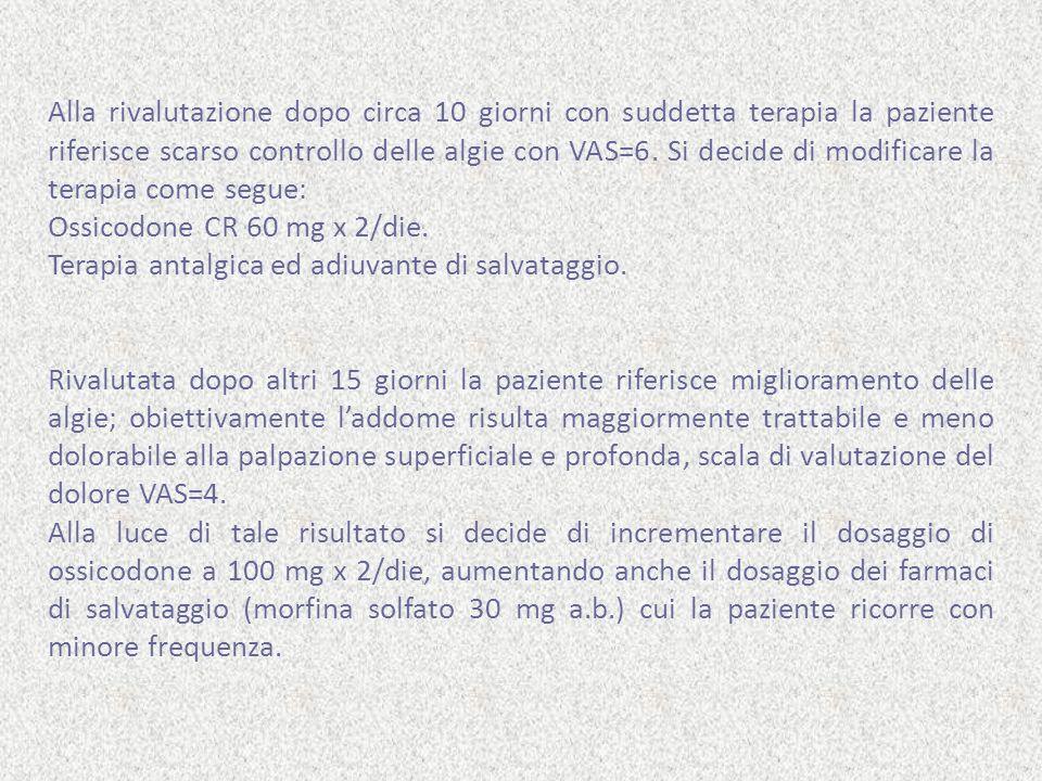 Alla rivalutazione dopo circa 10 giorni con suddetta terapia la paziente riferisce scarso controllo delle algie con VAS=6. Si decide di modificare la terapia come segue: