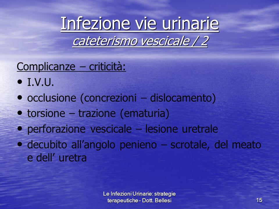 Infezione vie urinarie cateterismo vescicale / 2