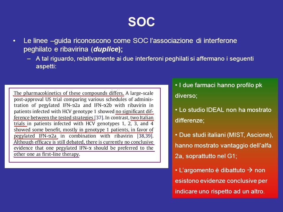 SOC Le linee –guida riconoscono come SOC l'associazione di interferone peghilato e ribavirina (duplice);