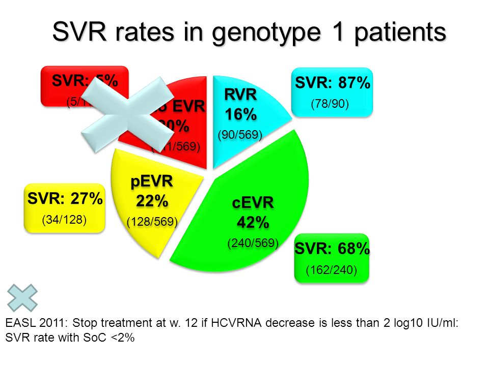 SVR rates in genotype 1 patients