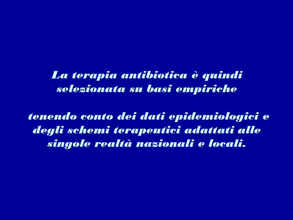 La terapia antibiotica è quindi selezionata su basi empiriche tenendo conto dei dati epidemiologici e degli schemi terapeutici adattati alle singole realtà nazionali e locali.