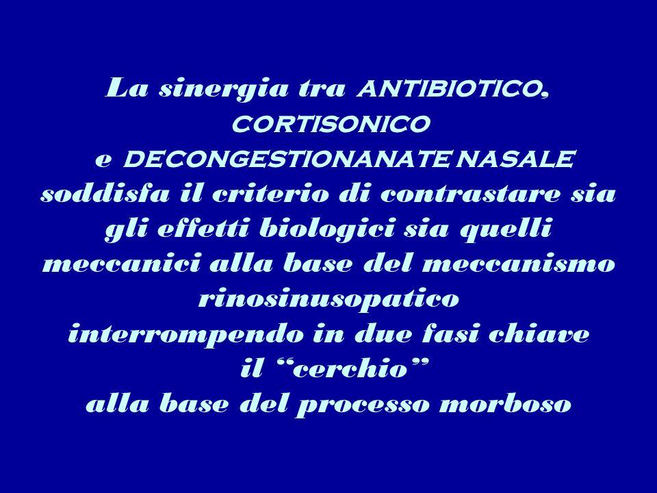 La sinergia tra antibiotico, cortisonico e decongestionanate nasale soddisfa il criterio di contrastare sia gli effetti biologici sia quelli meccanici alla base del meccanismo rinosinusopatico interrompendo in due fasi chiave il cerchio alla base del processo morboso