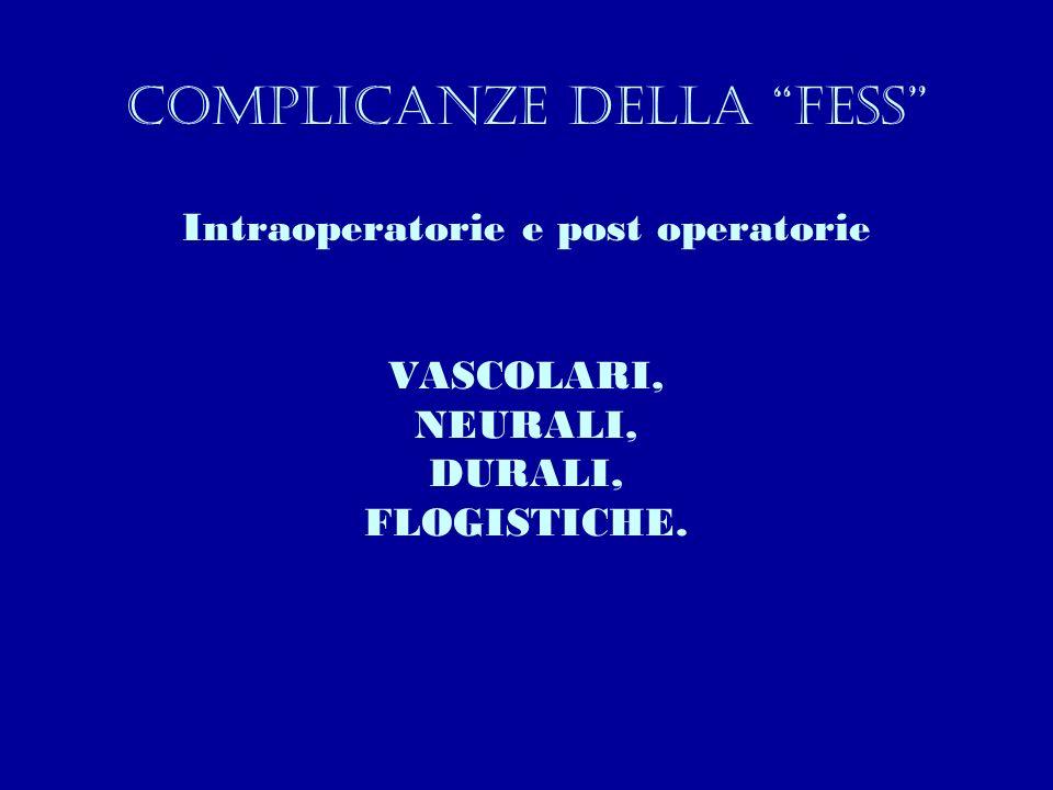 Complicanze della fess Intraoperatorie e post operatorie VASCOLARI, NEURALI, DURALI, FLOGISTICHE.