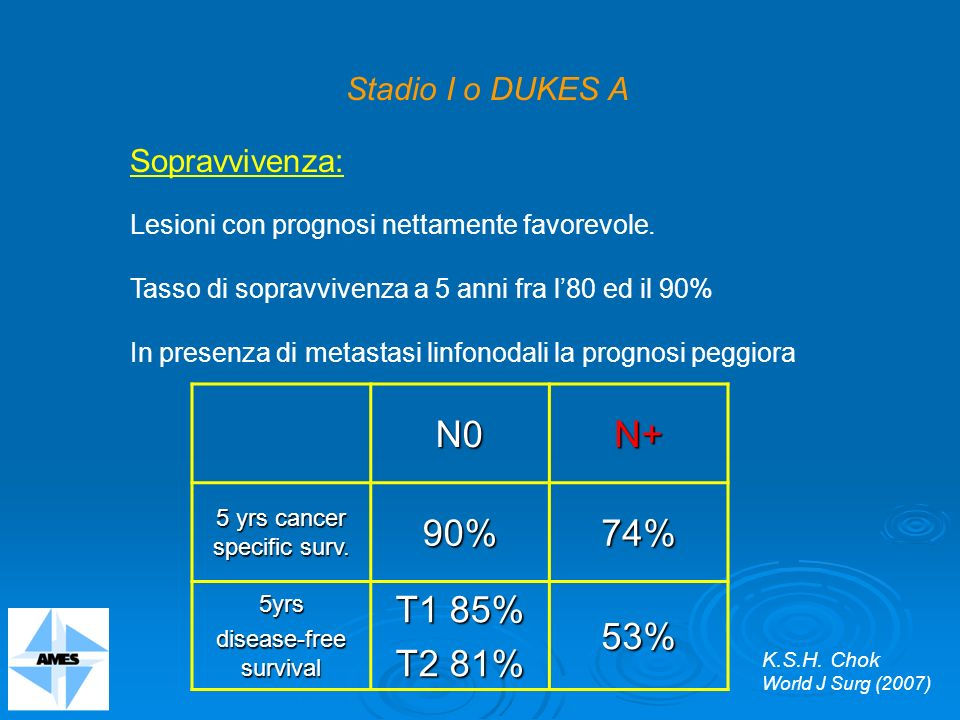 N0 N+ 90% 74% T1 85% T2 81% 53% Stadio I o DUKES A Sopravvivenza: