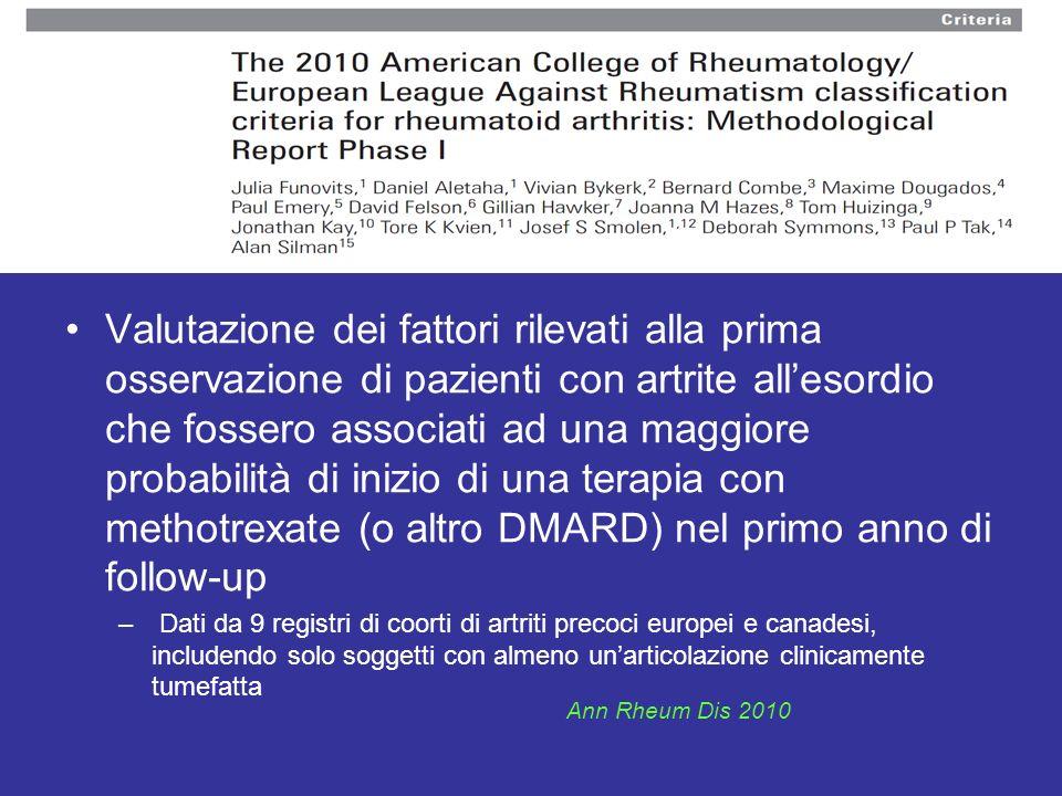 Valutazione dei fattori rilevati alla prima osservazione di pazienti con artrite all'esordio che fossero associati ad una maggiore probabilità di inizio di una terapia con methotrexate (o altro DMARD) nel primo anno di follow-up