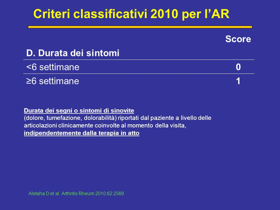 Criteri classificativi 2010 per l'AR