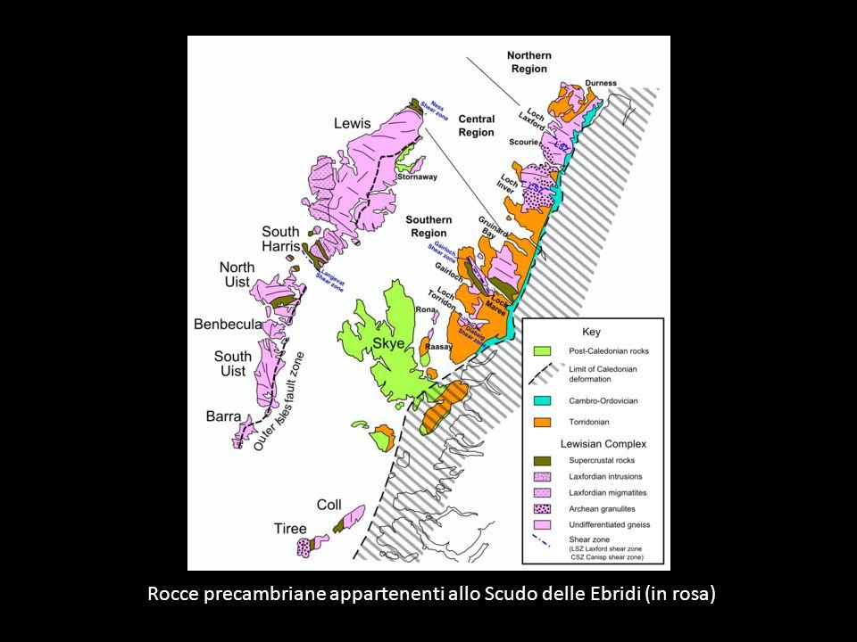 Rocce precambriane appartenenti allo Scudo delle Ebridi (in rosa)